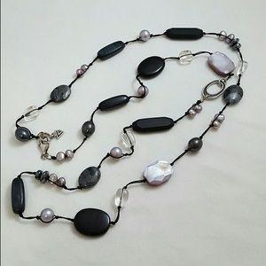 Silpada hematite pearl glass necklace
